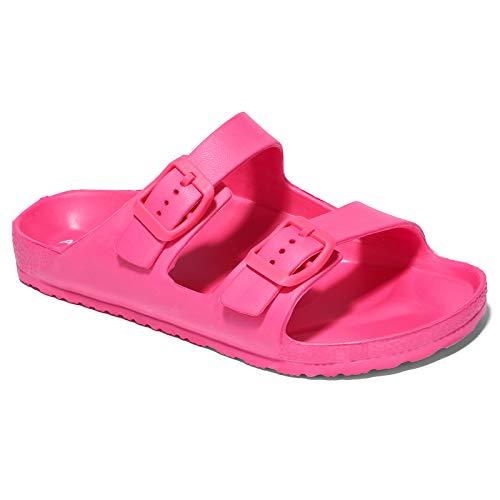 ANLUKE Girls Non Slip Slide Sandal Adjustable Buckle Comfy Sport Slide Sandal for Beach Outdoor Rose Pink-12/13