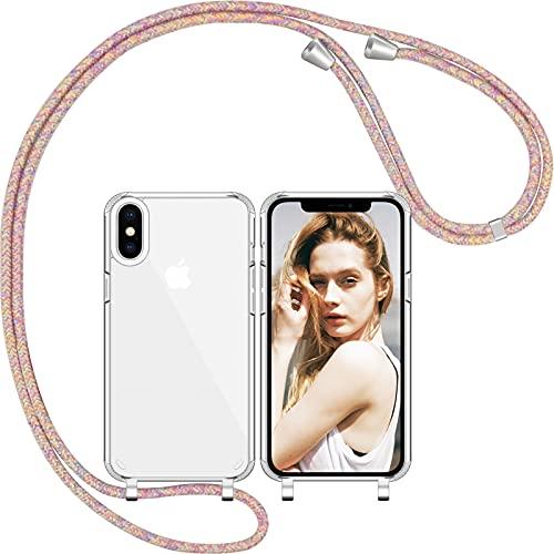 Nupcknn Funda Silicona Líquida con Cuerda para iPhone X/iPhone XS, Carcasa Suave...