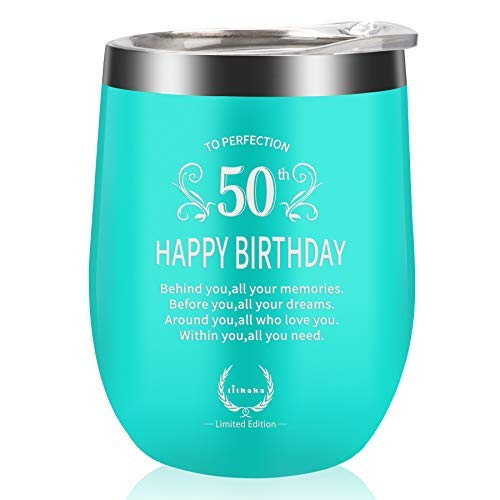 best gifts for co workers under 50 50th Birthday Gifts for Women Wine Glass-Gifts for women turning 50 Funny Gift Idea for Mom1970 Birthday Best Cups for Wife 50 Year Old Happy Tumbler for Her,Girlfriend,Coworkers 12oz