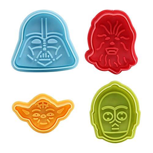 Vikenner Kinder Ausstechformen Star Wars Ausstecher mit 4 Stück aus Kunststoff für Keks Fondant 3D Plätzchen Plätzchenformen Backen Küche