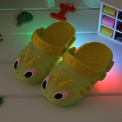 zuecos sanitarios mujer originales,Baby Girl LED Llomeros luminosos para niños, de un año de edad y una mitad de las zapatillas de playa antideslizantes, piscina de verano Sandalias de iluminación al