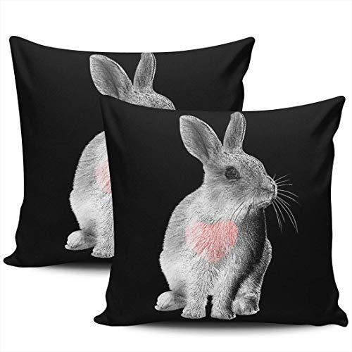 Cute Gray Rabbit Love You Red Heart Fundas De Almohada Personalizado Almohada Cubierta Transpirables Tirar Almohada Cojin para Oficina Cumpleaños Familia Juego De 2, 40x40 cm