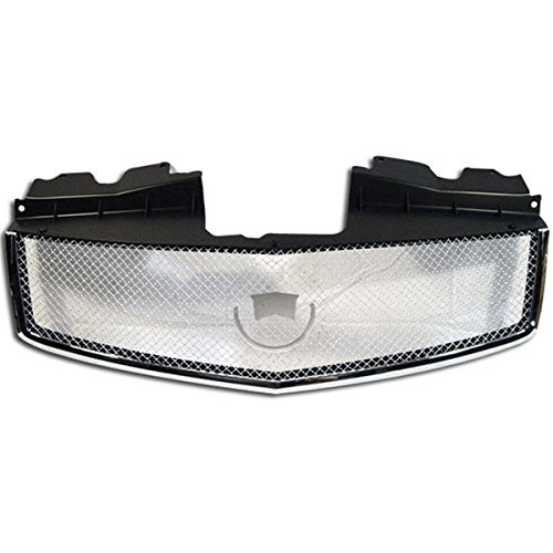 Front Grille Compatible With 2003-2007 Cadillac Cts | Mesh style ABS Plastic Chrome with Stainless Steel Mesh Bumper Hood Grill Exterior Guard by IKON MOTORSPORTS | 2004 2005 2006