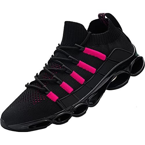 [DYKHMILY] 安全靴 メンズ レディース 軽量 スリッポン あんぜん靴 高通気 鋼先芯 衝撃吸収 作業靴 耐滑 耐摩耗 歩きやすい おしゃれ スニーカー セーフティーシューズ(23.5cm,ブラック/ピンク,D91868)
