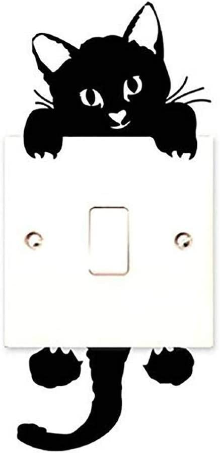CUIZC Chat Autocollant Mural Interrupteur D/écorations Chambre de b/éb/é Stickers Noir
