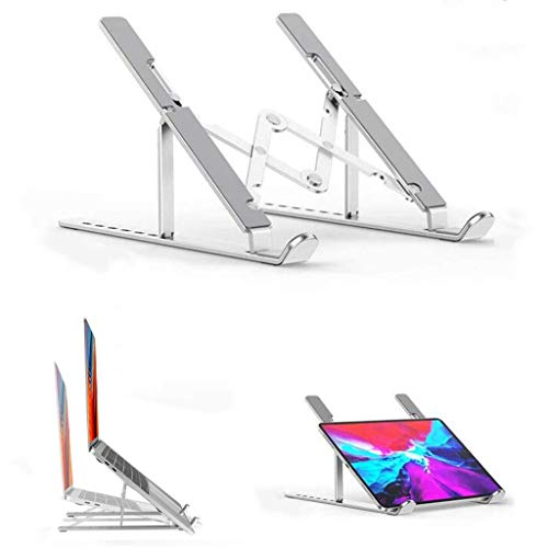 Adjustable Aluminum Laptop Stand, Multi-Angle Notebook Stand Foldable Non-Slip Computer Holder with 7 Levels Height for Mac MacBook Pro Air, Lenovo, HP, Dell and More 10-15.6 Inch Laptops