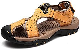 LSWL New Male Shoes Genuine Leather Men Sandals Summer Men Shoes Beach Sandals Man Fashion Outdoor Casual Sneakers Size 48 (Color : 7236 YELLOW, Shoe Size : 48)