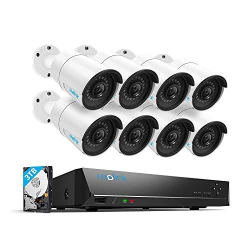 Reolink NVR Überwachungskamera Set, 16CH 4MP Videoüberwachungs mit 8X 4MP PoE IP Kameras, 16 Kanal NVR und 3 TB Festplatte, RLK16-410B8-4MP