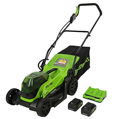 Greenworks 48V 14' Brushless Cordless Lawn Mower, (2) 4.0Ah USB Batteries (USB Hub) and Dual Port Rapid Charger Included (2 x 24V)