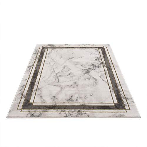 Carpet city Tappeto soggiorno – Bordatura mélange 140 x 200 cm Grigio Oro – Tappeto moderno