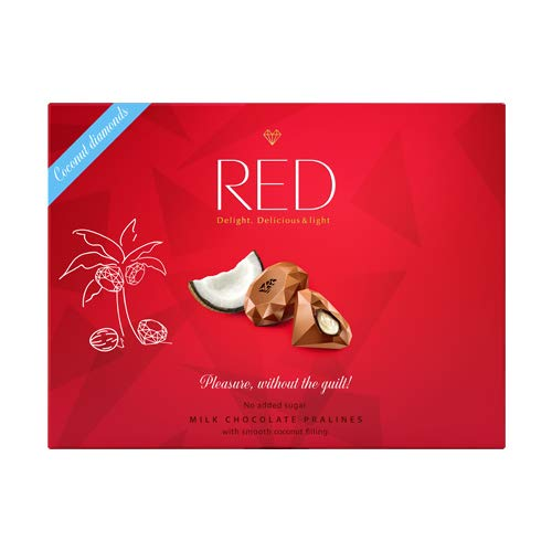 Red Red Delight Bombones de Chocolate con Leche Rellenos de Coco Sin Azúcares Añadidos y Bajos en Calorías, 132 Gramos