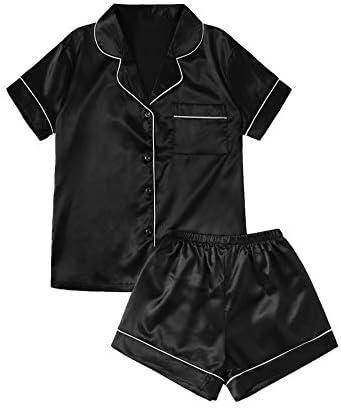 SweatyRocks Women s Short Sleeve Sleepwear Button Down Satin 2 Piece Pajama Set Black Medium product image