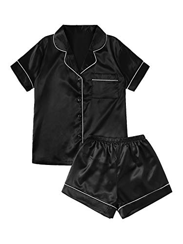 SweatyRocks Women's Short Sleeve Sleepwear Button Down Satin 2 Piece Pajama Set Black Small