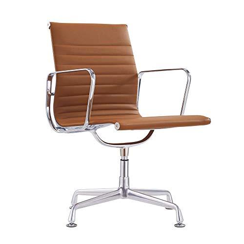 Vivol Murcia Konferenzstuhl - Esszimmerstühle Armlehnen verchromt (Cognac, Kunstleder)