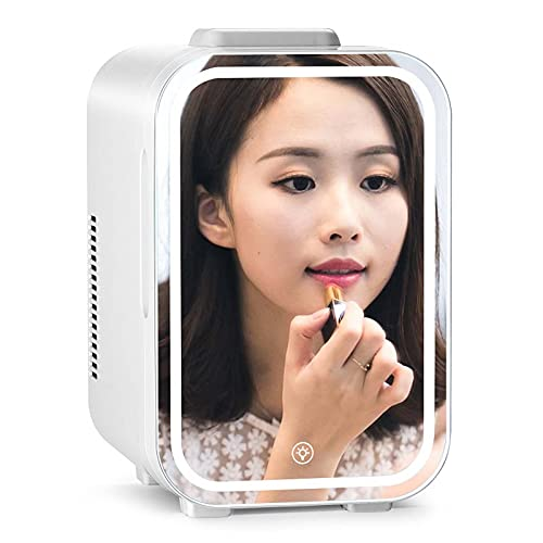 Nevera pequeña,Mini Nevera 10L,2-en-1 Espejo de Maquillaje Cuidado de la Piel Nevera con luz LED,for el Dormitorio Oficina del Dormitorio de Coches - Ideal Skin Care and Cosmetics