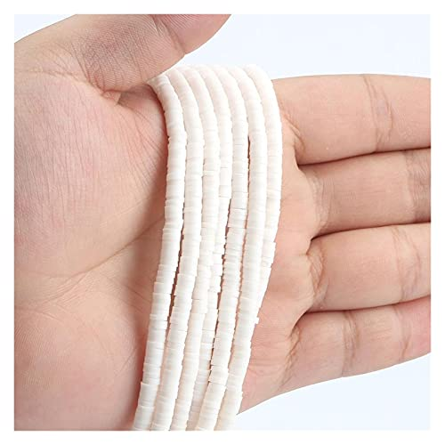 MURUI NTZ 15 Pulgadas Alrededor de 400 unids 4 mm / 6 mm de Blanco-Blanco Polimer Plano Plano Clay Beads Chip Disco Spacer Suelto Granos Hechos a Mano para la fabricación de Joyas de Bricolaje Yc0416