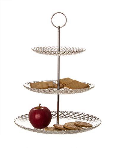BigDean Etagere 35 cm 3 Teller Glas Diamantenraute-Design - 3 stöckige Keksplatte, Obstkorb, Pralinen-Platte - Deko-Servierteller für Küche & Esstisch -