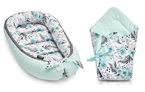 Nido para bebé de Coco + cojín para bebé de 2 caras en color verde menta En jardín, verde menta