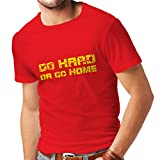 lepni.me Camisetas Hombre ¡Go Hard or Go Home! - Refranes para Motociclistas, para Ciclistas, para Patinadores, Ciclistas (X-Large Rojo Multicolor)