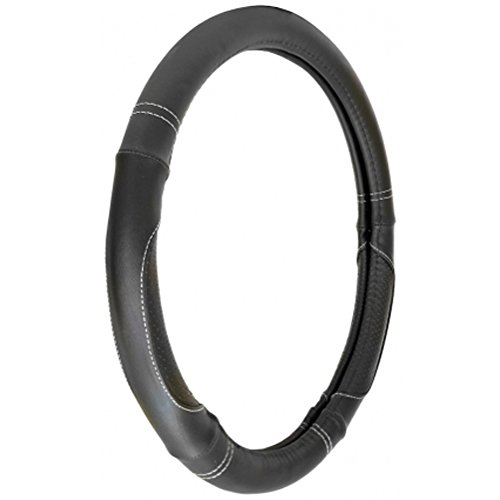 Custom Accessories 33104P Black Custom Grip Leatherette Perf Steering Wheel Cover