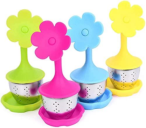 HQSLsund Teesieb Edelstahl Teeei 4er-Set-Teefilter mit Kieselgel Griff Teegeschirr zum Filtern von Teeblättern…