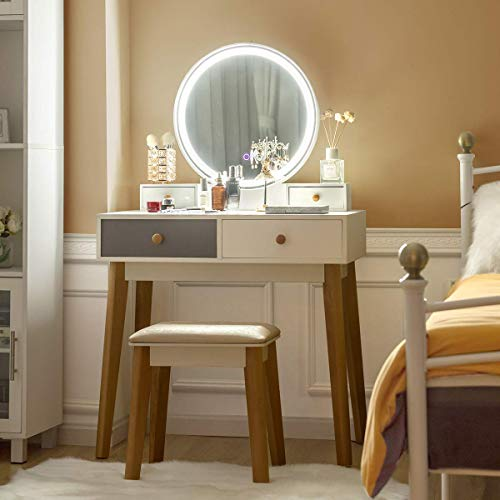le moins cher prix abordable Chaussures de skate CHARMAID Vanity Set with Lighted Mirror, 3 Lighted Modes Touch Screen  Dimming Mirror, Modern Bedroom Makeup Dressing Table with 4 Sliding Drawers  and ...