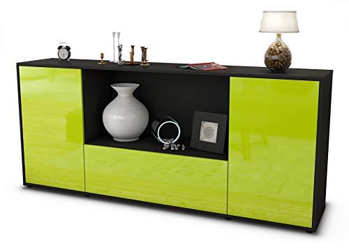 Stil.Zeit Sideboard Ella/Korpus anthrazit matt/Front Hochglanz Limettengrün (180x79x35cm) Push-to-Open Technik