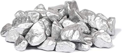 HEKU 30336-23: Deko-Steine Silber, 750g, in wiederverschließbarer Dose, 750 Gramm