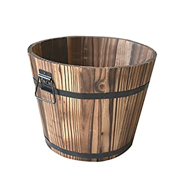Jili Online Wooden Bucket Flower Planter Window Box Patio Garden Outdoor Home Decor DIY VARIOUS - #1 Round, S