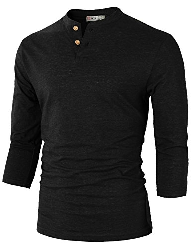 H2H Mens Casual Slim Fit Henley T-Shirt 3/4Sleeves Black US M/Asia L (CMTTS0194)