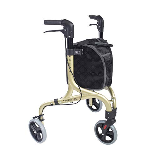 NRS Healthcare NRS Freestyle 3-Rad-Rollator, Champagnergold, 5 kg