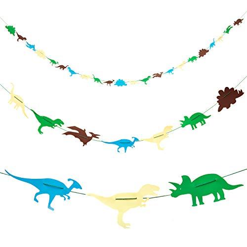 Oblique Unique® Dino Girlande Dinosaurier Banner für Jungs Kinderzimmer Deko Kinder Geburtstag Feier Party im Farbmix 4m