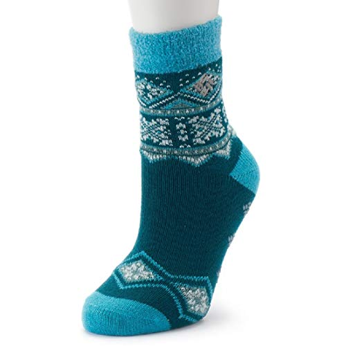Women's Columbia Fairisle Thermal Crew Socks, MEDIUM 8-10 (GREEN)