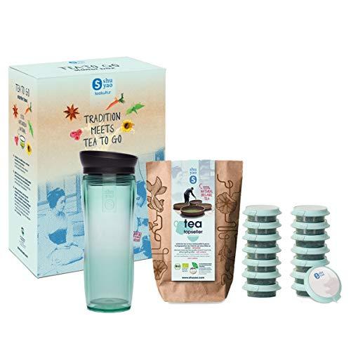 shuyao teekultur Shuyao Starterbox Tea to Go Thermobecher mit integriertem Teesieb + 5x3 Loser Bio Tee mit Koffein, Jade, 32