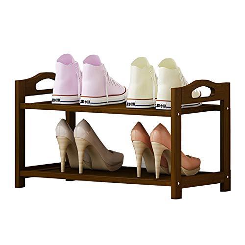 Zapatero Madera de 2 Niveles con Asa y Almohadilla para Los Pies, para la Sala de Estar Balcón Portal, Acomodar 4-6 Pares de Zapatos, Fácil Montaje