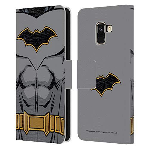 Head Case Designs Oficial Batman DC Comics Disfraz de Renacimiento Logotipos Carcasa de Cuero Tipo Libro Compatible con Samsung Galaxy A8 (2018)