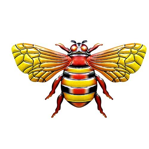 laoonl Ornement réaliste en métal - Figurines d'abeilles colorées en fer forgé - Décoration murale pour la maison, le salon, le jardin