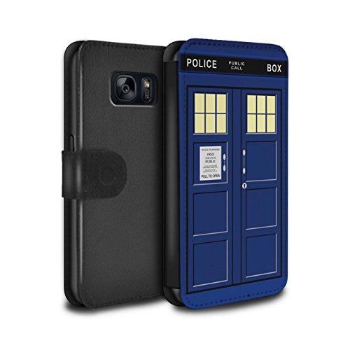 Hülle Für Samsung Galaxy S7/G930 Tardis Telefonzelle Kunst Blau Design PU Leder Tasche Brieftasche Schutz Handyhülle Flip Case