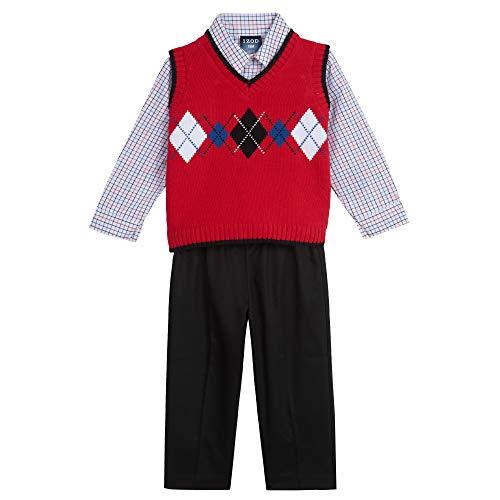 IZOD Baby Boys 3-Piece Sweater Vest, Dress Shirt, and Pants Set, Red/Black, 24 Months