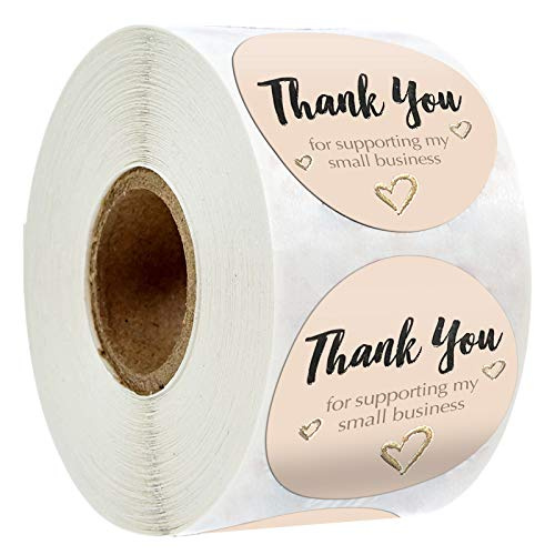 1.5' Inch Thank You Stickers,Thank You for Supporting My Small Business, Cookie Labels for Bags,Thank You Tags,,Gift Wraps, 400 Labels Per Roll (Pink,1.5 Inch)