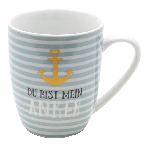 Dekohelden24 Kaffeebecher/Tasse aus Porzellan, Motiv: Du bist Mein Anker. Größe H/Ø: 9,8 x 8,2 cm, Fassungsvermögen 250 ml, Spülmaschinengeeignet.