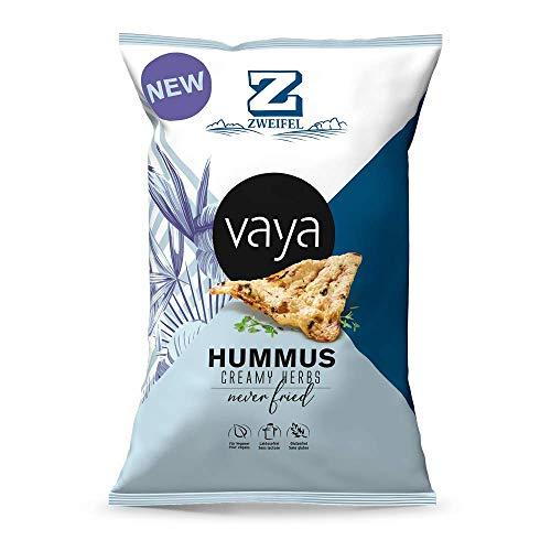 VAYA Hummus Creamy Herbs Snack Chips - feinen cremigen Kräuternote, 40 % weniger fett, Kichererbsen - Basis von Zweifel (12 x 80g)