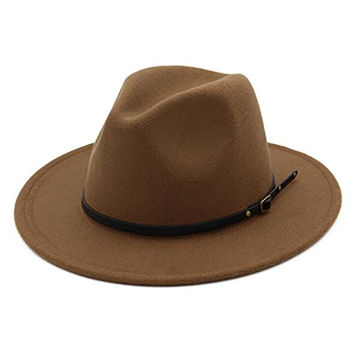 Lisianthus Women Belt Buckle Fedora Hat Dark-Camel