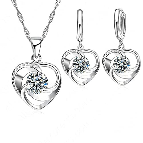 LKHJ Collar de Mujer 925 Collar con Colgante de corazón de Plata esterlina/Conjuntos de Pendientes Conjunto de joyería de Boda/Compromiso