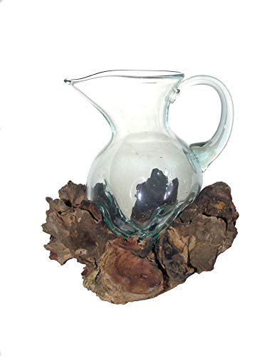 SAWA Glas-Krug auf Treib-Holz Wurzelholz Vase 22 cm individuell angepasst