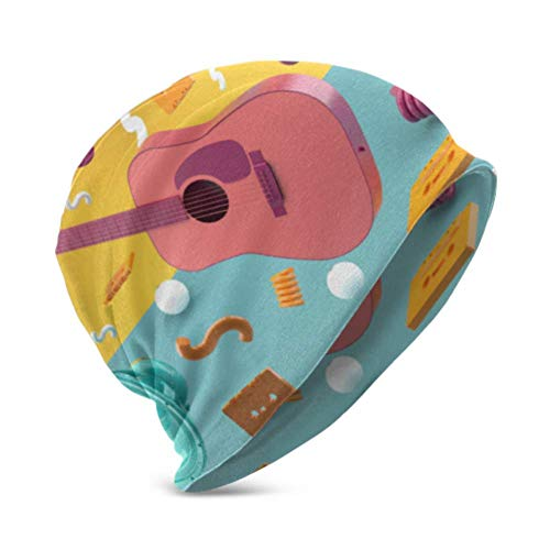 Unisex Beanie Hat Cálido y Acogedor Guitarra Rosa Altavoces Azules en Medio...