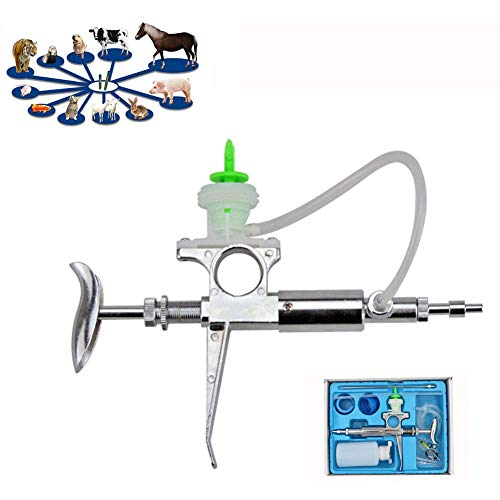 WHYTT Herramienta de Veterinaria Continua inyector automático Ganado Animales Jeringa Animal inyector Agujas Mascotas Inyector Reutilizable con la Botella Ajustable para Uso agrícola,5ml