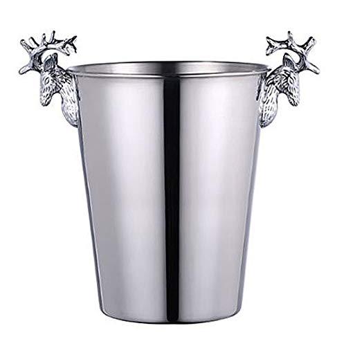 Brass Stag Head ijsemmer RETROLight Luxe met de hand gepolijst Wijn Champagne Droog Ijsemmer voor Paties, Bar, Banket,Silver,2