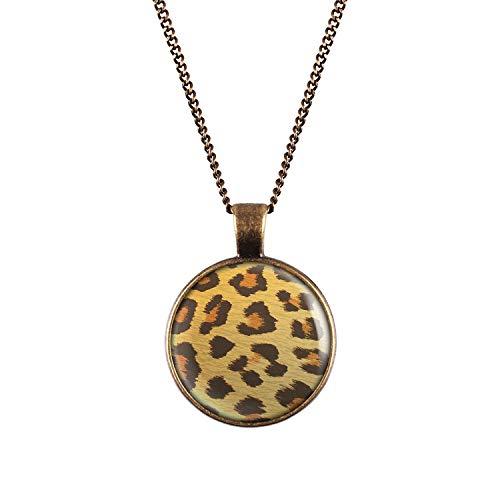Mylery Halskette mit Motiv Leo Leopard Leoparden-Muster Bronze 28mm