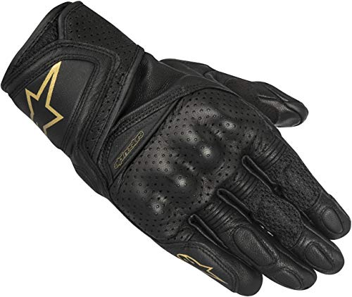 Alpinestars Motorradhandschuhe Stella Baika Leather Gloves Black Gold, Schwarz/Gold, S